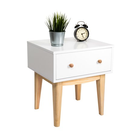 Kinbor Side End Table Nightstand with A Single Drawer Storage Mid-Century Accent Wood Furniture, White/Wooden ()