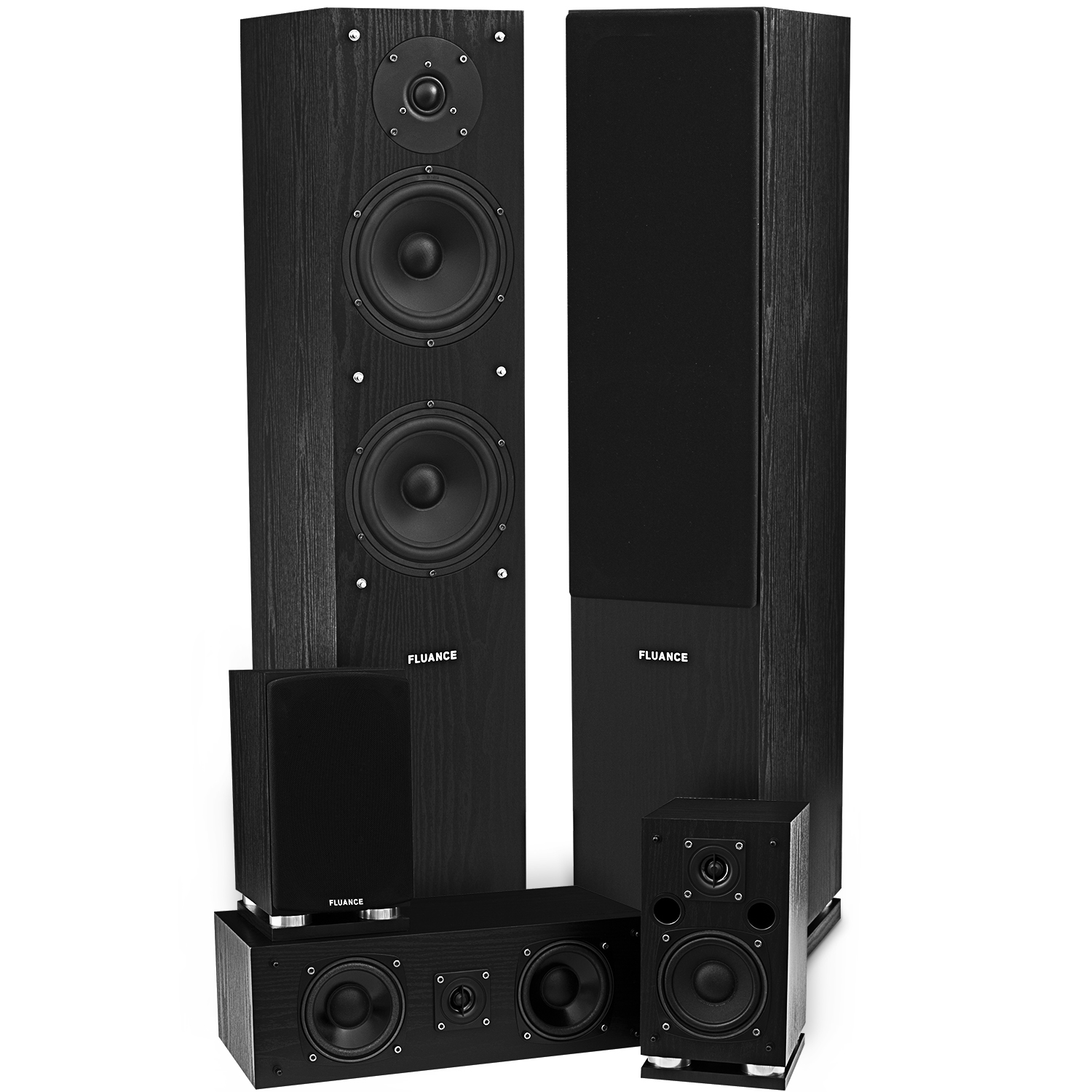Fluance SXHTB-BK High Definition Surround Sound Home Theater Speaker System