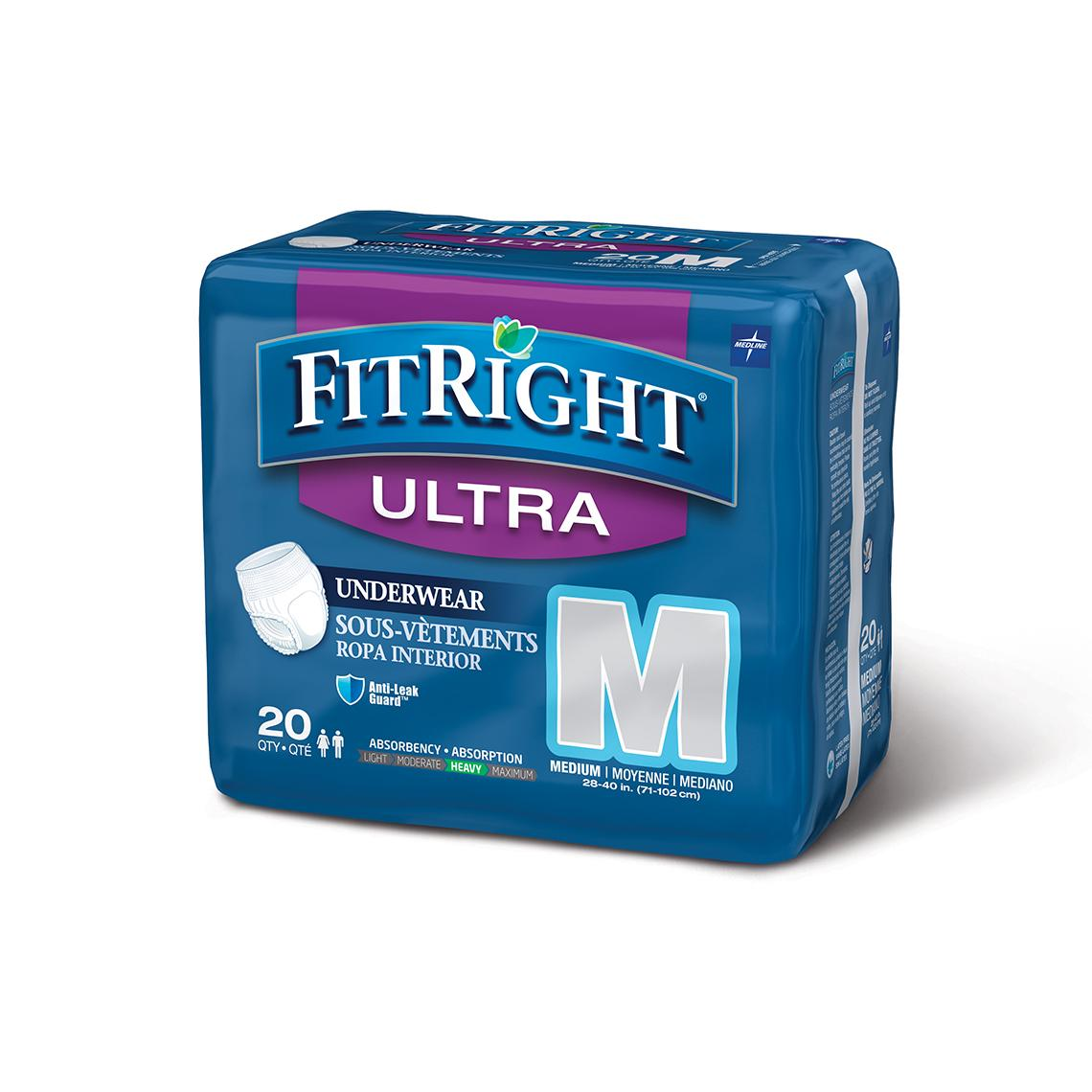 Medline FitRight Ultra Protective Disposable Underwear, 20 count, (Pack of 4)