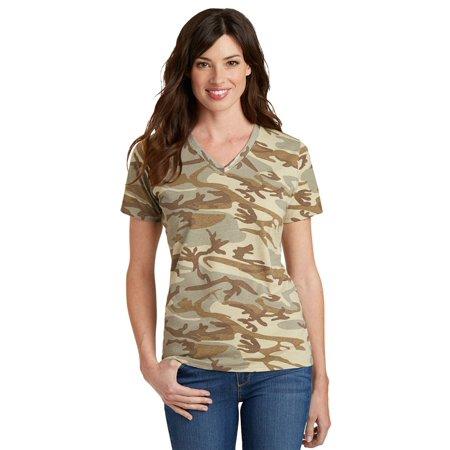 Port & Company Women's V-Neck Camo T-Shirt - Light Blue Camp Shirt