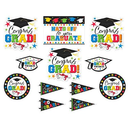 Congrats Grad! Graduation Party Assorted Wall Cutouts Decoration, Cardboard, Pack of 12, Features two-sided cardstock cutouts with graduation-themed.., By