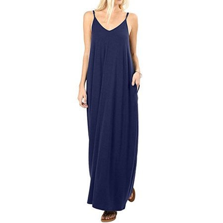 Women Boho Long Maxi Dress Casual Spaghetti Strap Cami Sleeveless V-neck Loose Oversized Solid Party Beach Sundress