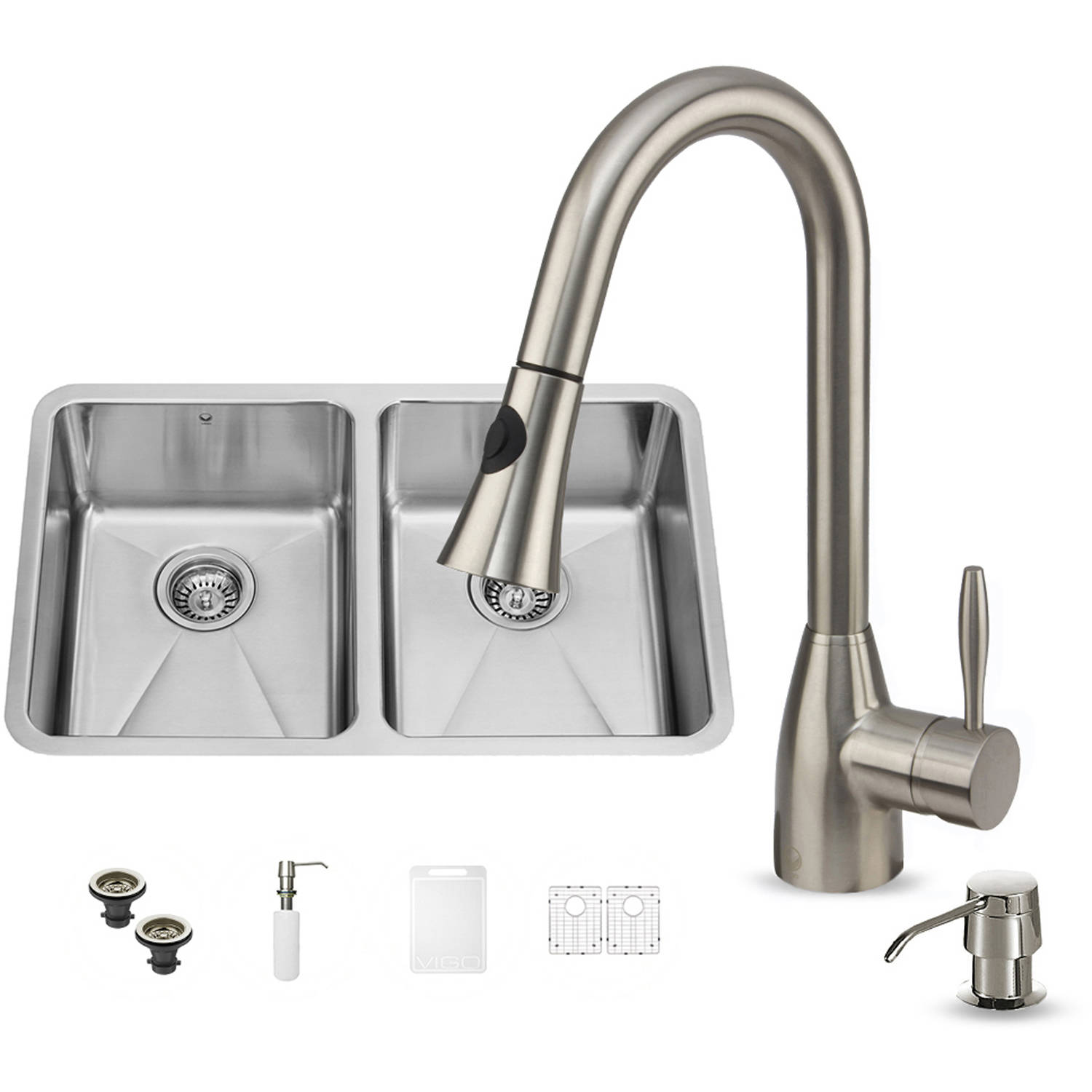 "Vigo All-in-One 29"" Undermount Stainless Steel Double Bowl Kitchen Sink and Faucet Set"