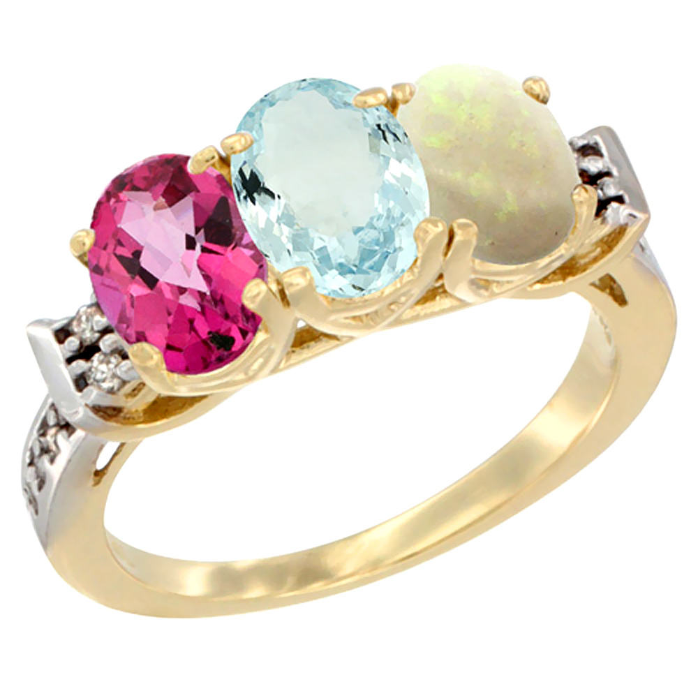 10K Yellow Gold Natural Pink Topaz, Aquamarine & Opal Ring 3-Stone Oval 7x5 mm Diamond Accent, sizes 5 10 by WorldJewels