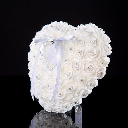 Wedding Ring Bearer Pillow Handmade White Bridal Ring Pillow, Swarovski Accent Ring Cushion- Wedding Gift