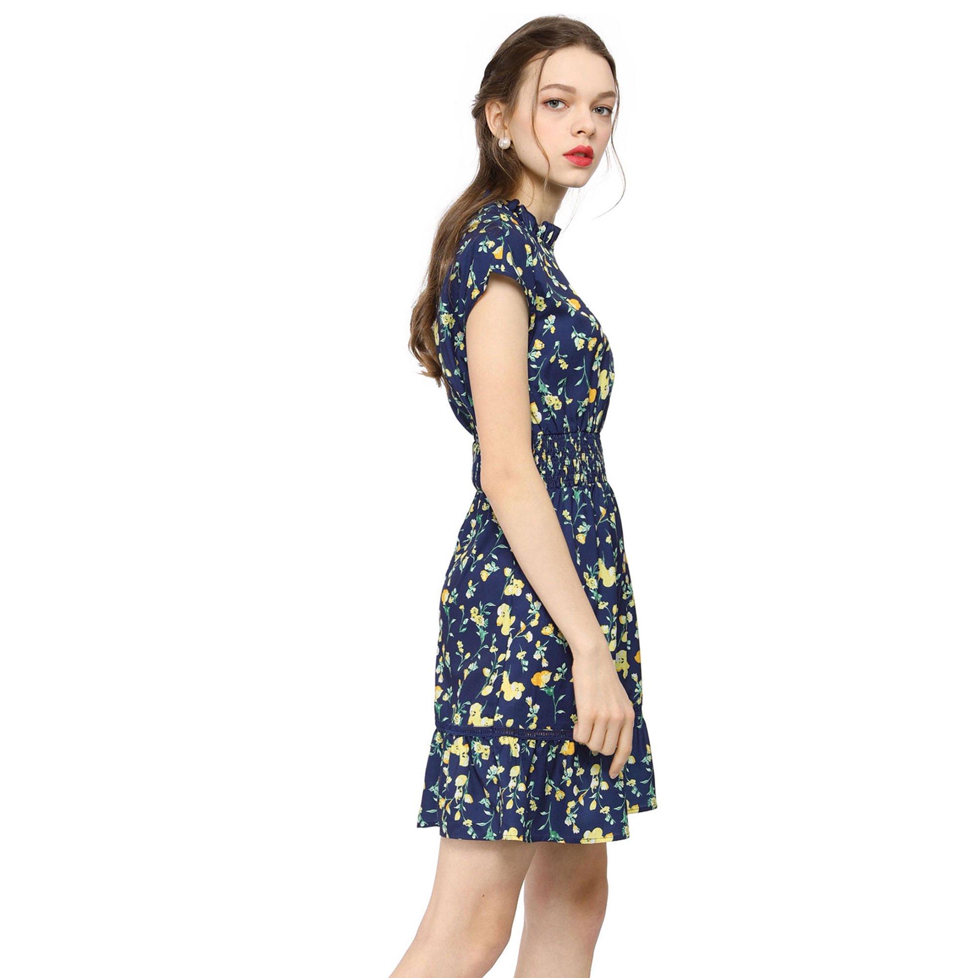 08f3f94dd8f8 Women鈥榮 Floral Cap Sleeve Smock Waist Mini Dress M | Walmart Canada