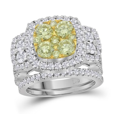 14Kt White Gold Womens Round Yellow Diamond Bridal Wedding Engagement Ring Band Set 3 00 Cttw