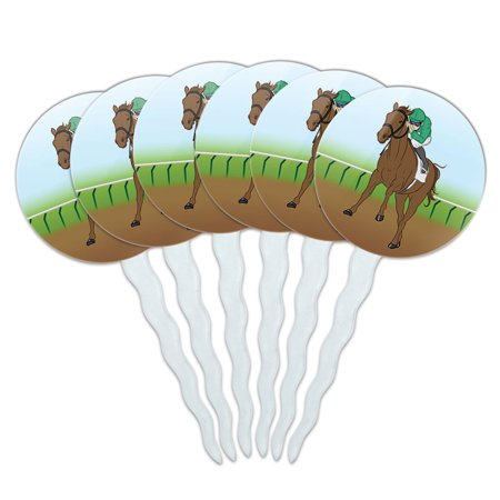 Horse Racing Race Jockey Cupcake Picks Toppers - Set of 6 - Horse Racing Cake Designs