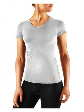 Tommie Copper Women's Vitality Short Sleeve V-Neck Shirt Large Silver Heather