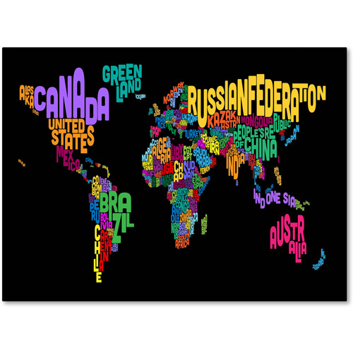 Trademark Art 'World Text Map 4' Canvas Art by Michael Tompsett