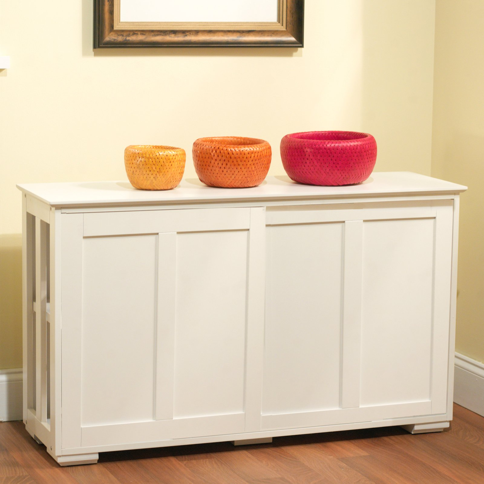 Sliding Wood Doors Stackable Storage Cabinet, Multiple Colors