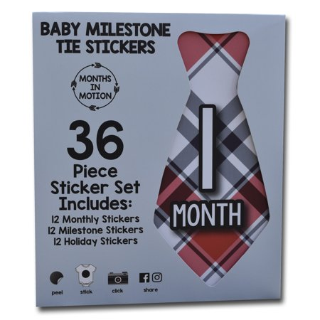 Months in Motion Monthly Tie Stickers for Baby Boy, Newborn Month, Milestone and Holiday Stickers for Baby's First Year (Set of 36) (First Years Belly Stickers)
