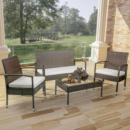 Patio Conversation Sofa Sets on Clearance, SEGMART 4 Pieces Outdoor Wicker Patio Furniture Set w/Seat Cushions & Tempered Glass Coffee, Sectional Sofas for Porch Poolside Backyard, 300lbs, S5607 ()