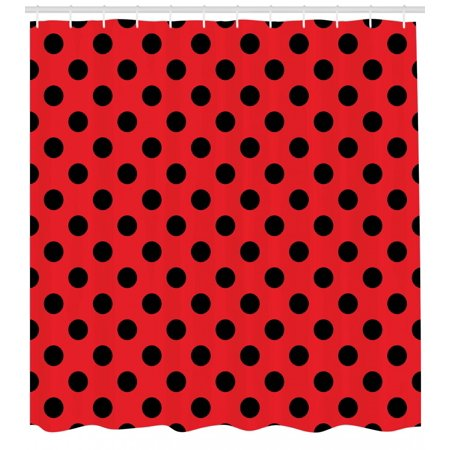 Red and Black Shower Curtain, Retro Vintage Pop Art Theme Old 60s 50s Rocker Inspired Bold Polka Dots Image, Fabric Bathroom Set with Hooks, Scarlet, by Ambesonne - 50s Rocker