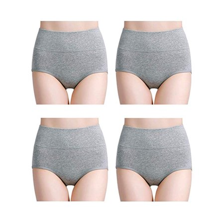 Womens Cotton Underwear High Waist Full Coverage Brief Panty 4 Pack