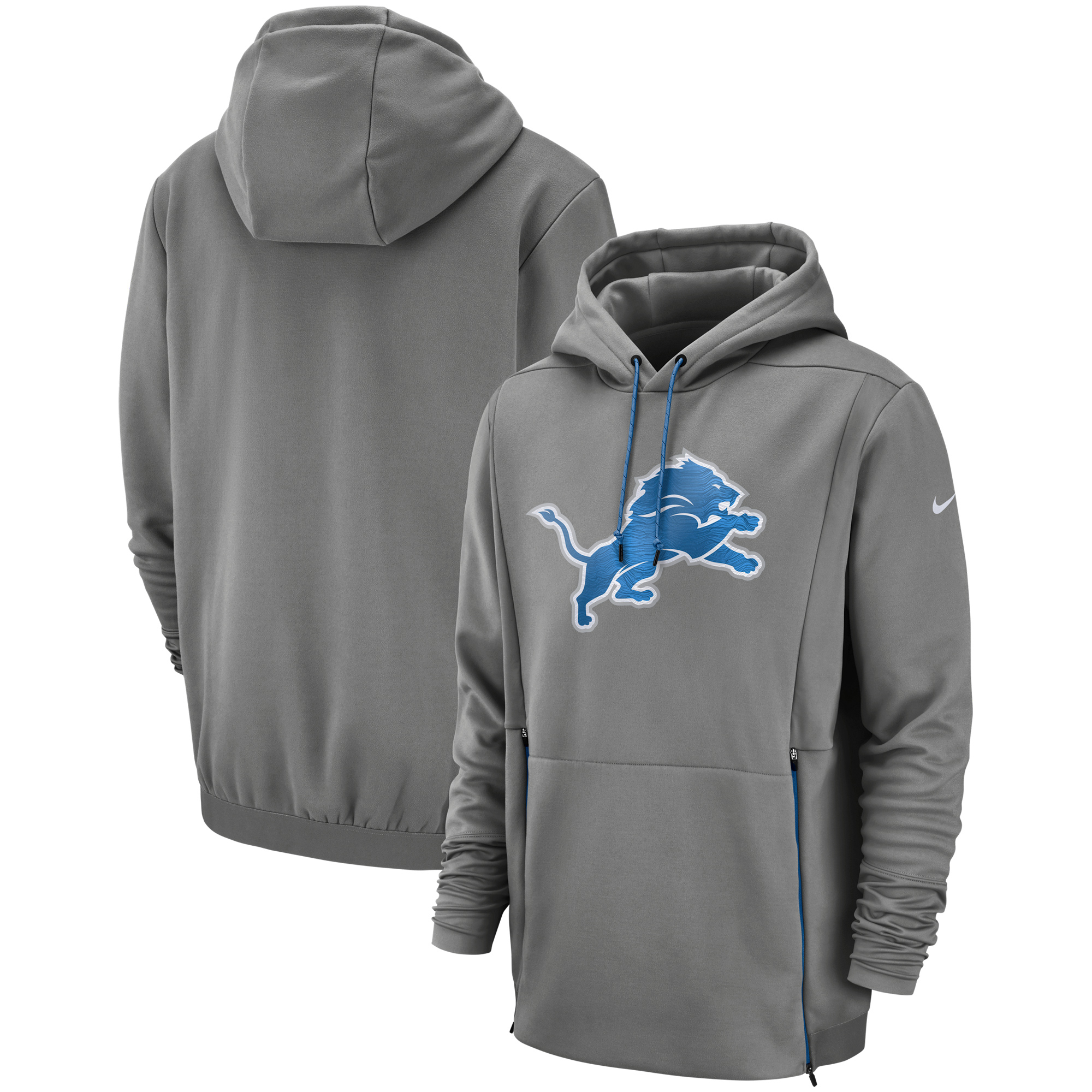 buy popular f26e7 54a8e Detroit Lions Nike Sideline Performance Player Pullover Hoodie - Gray