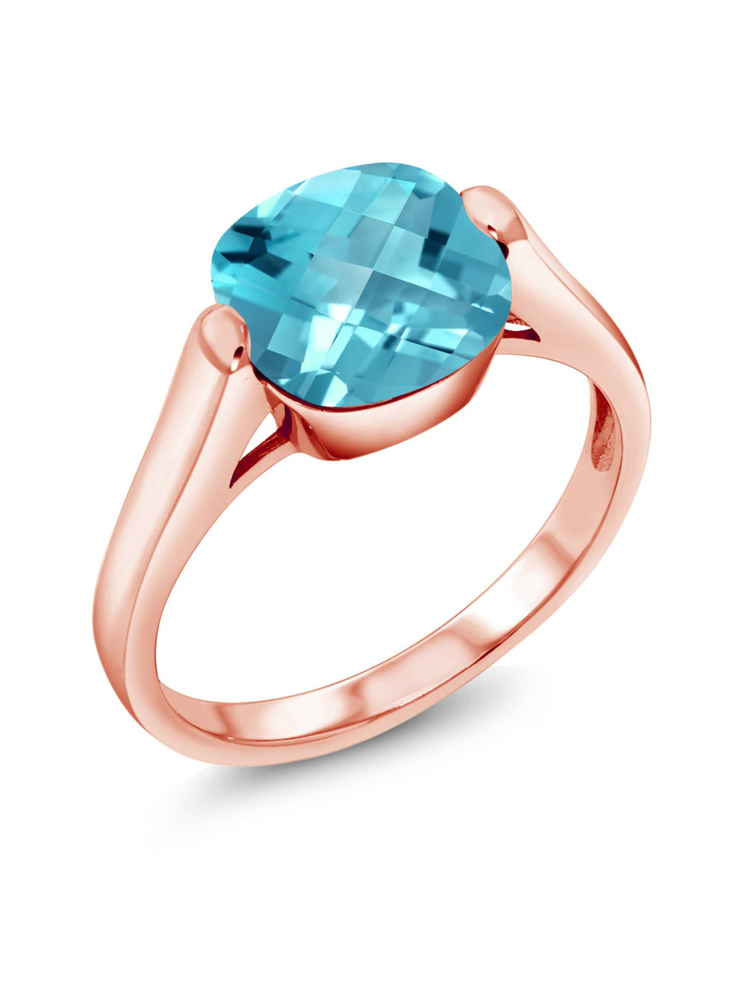 4.05 Ct Cushion Checkerboard Swiss Blue Topaz 18K Rose Gold Plated Silver Ring by