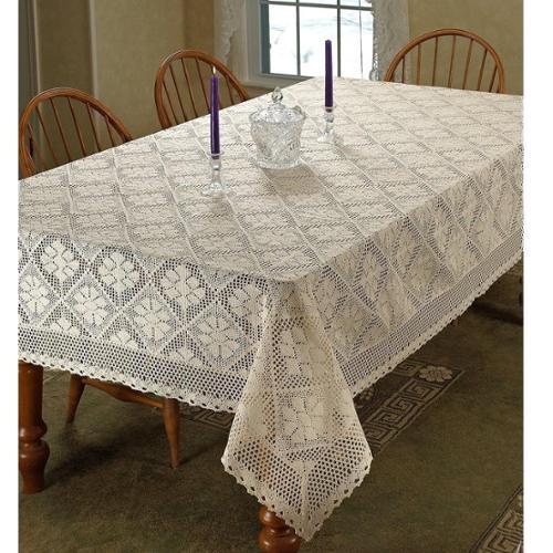 Violet Linen  Stars Vintage Lace Design Tablecloth