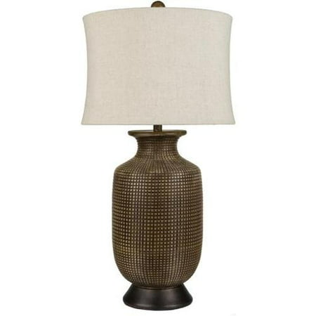 33 Embossed Tile Vase Hammered Bronze Table Lamp With Ivory