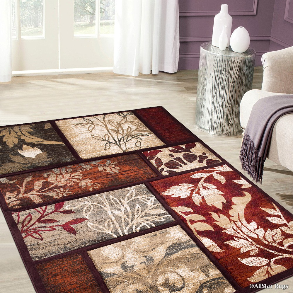 Click here to buy Allstar Orange Hand Carved Indian Floral Print Design Area Rug (5