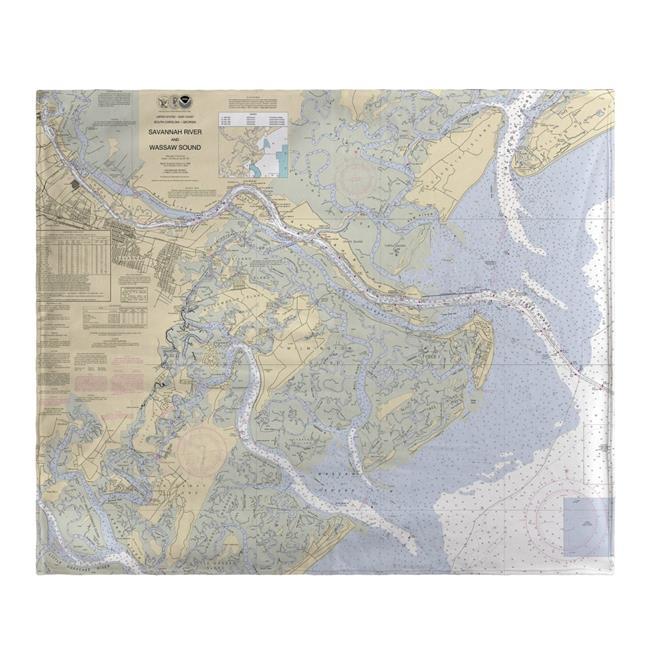Betsy Drake BK214 Savannah River & Wassaw Sound, GA Nautical Map Fleece Throw