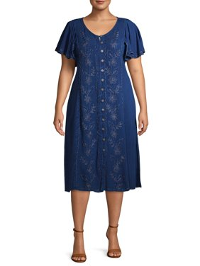Studio West Women's Plus Size Button Front Dress with Flutter Sleeves and Embroidered Detail