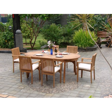 seater 7 pc 94 oval table and 6 lua stacking arm chairs outdoor