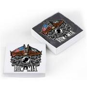 Erazor Bits MM2149-SC2BX American Heroes Natural Stone Coasters - POW Double Flag Eagle Gift Box, Ivory - Set of 2