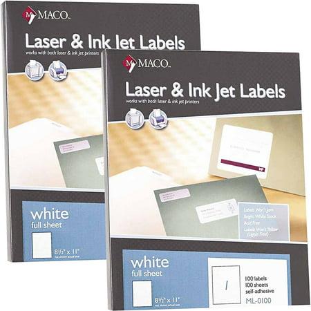 (2 Pack) Maco, MACML0100, White Full-sheet Shipping Labels, 100 / Box, White ()
