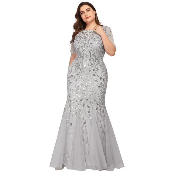 plus size formal dresses : Ever-Pretty Womens Elegant Short Sleeve Mermaid Long Formal Evening Prom Ball Gown for Women 77072 Silver US4