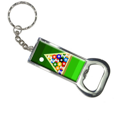 Billiard Balls And Triangle Pool Table Keychain Bottle Bottlecap Opener by Graphics and More