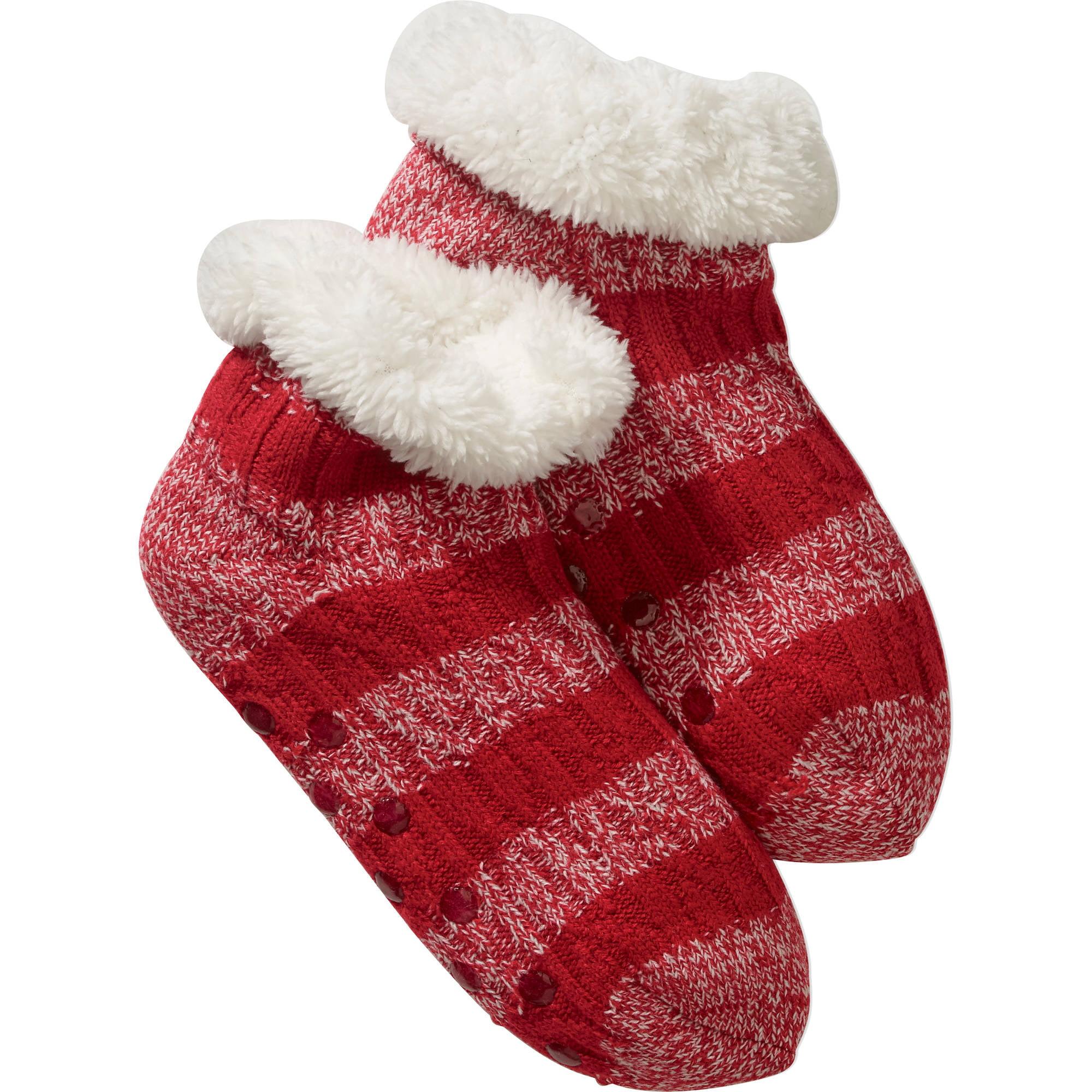 Cozy Warmer Cable Knit Striped Slipper Socks