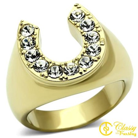 Classy Not Trashy® Men's Stainless Steel Gold Lust Crystal Lucky Horseshoe Ring - Size 12 Gold Mens Horseshoe