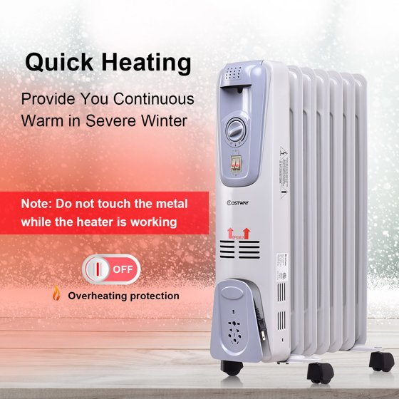 09aaf5d7d3a 1500W Electric Oil Filled Radiator Space Heater Thermostat - Walmart.com