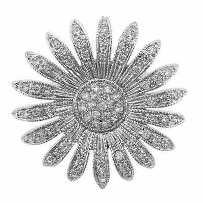 Sterling Silver Simulated Diamond Cubic Zirconia Sun Flower Pin by SilverSpeck