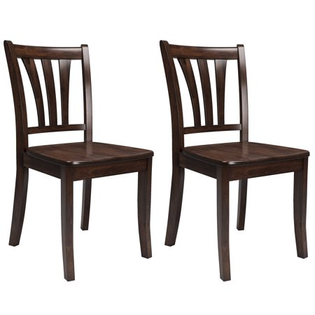 Cappuccino Solid Wood (CorLiving Dillon Cappuccino Stained Solid Wood Dining Chairs with Curved Vertical Slat Design, Set of 2)