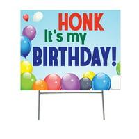 "Honk It's My Birthday Yard Sign, Corrugated Plastic, 18.5"" x 23"""