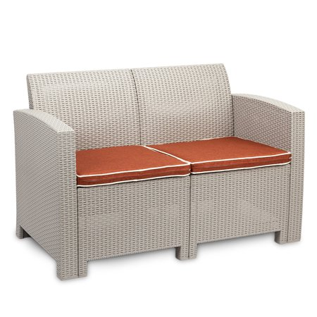 Weather Outdoor Patio Garden Furniture Sofa Set Gray White——Love Seat and Coffee Table ()