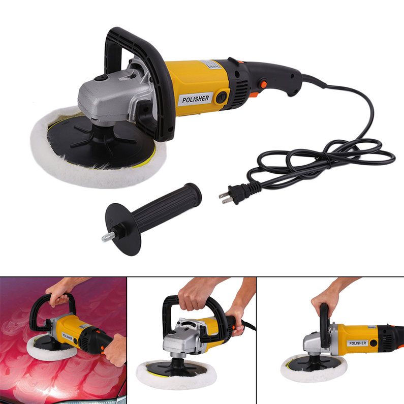 2018 New Upgraded Professional 7 Inch Variable 6-Speed Electric Car Polisher Auto Polishing Machine Buffer With Bonnet Pad US Plug(Yellow)