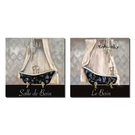 Vintage French Inspired Chandellier Powder Room and Bath Ikat Patterned Settings; Two 12X12 Posters. Black/Blue/Cream