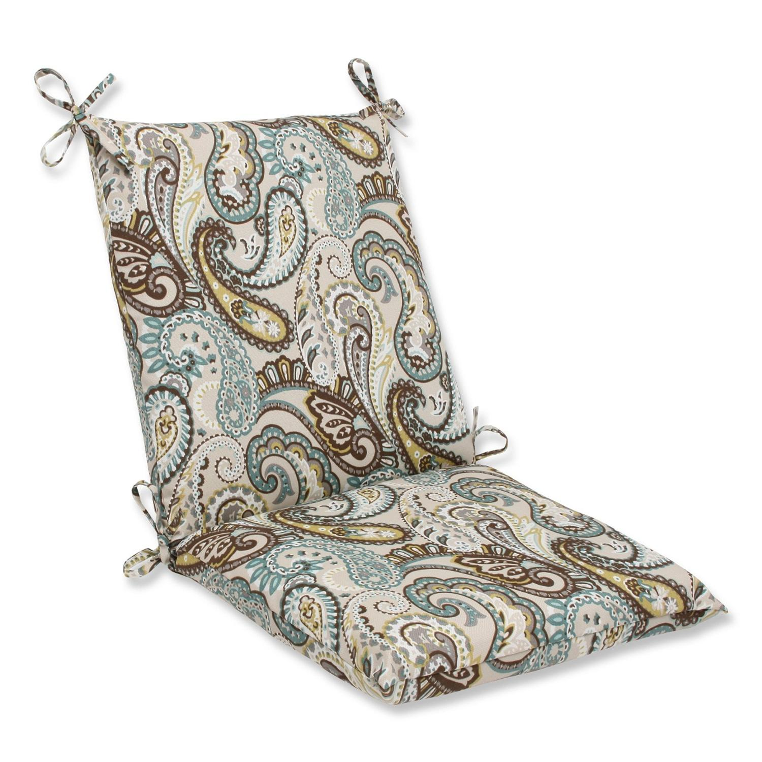"36.5"" Paisley Giardino Light Blue and Brown Outdoor Patio Chair Cushion"
