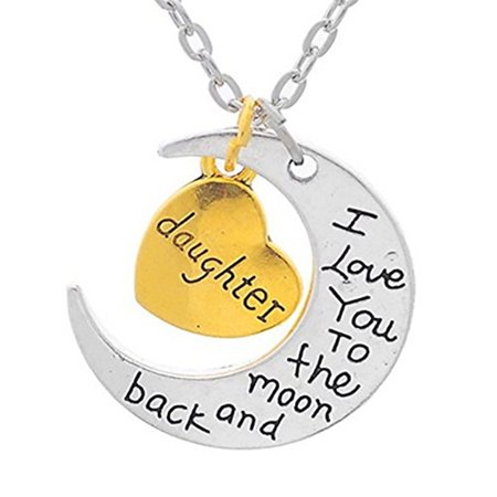 I love you to moon and back daughter necklace i love you daughter i love you to moon and back daughter necklace i love you daughter jewelry tarnish resistant mozeypictures Images