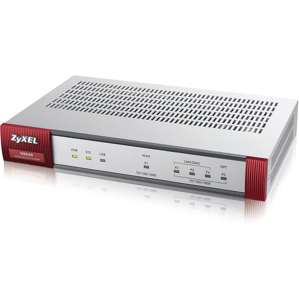 Zyxel USG40-NB - Next Generation Unified Security Gateway w/20 VPN Tunnels, SSL VPN, 1 GbE WAN, 1 OPT GbE, 3 GbE LAN/DMZ (Non-Bundled, Hardware only, USG40 UTM Service Licenses Sold Separately