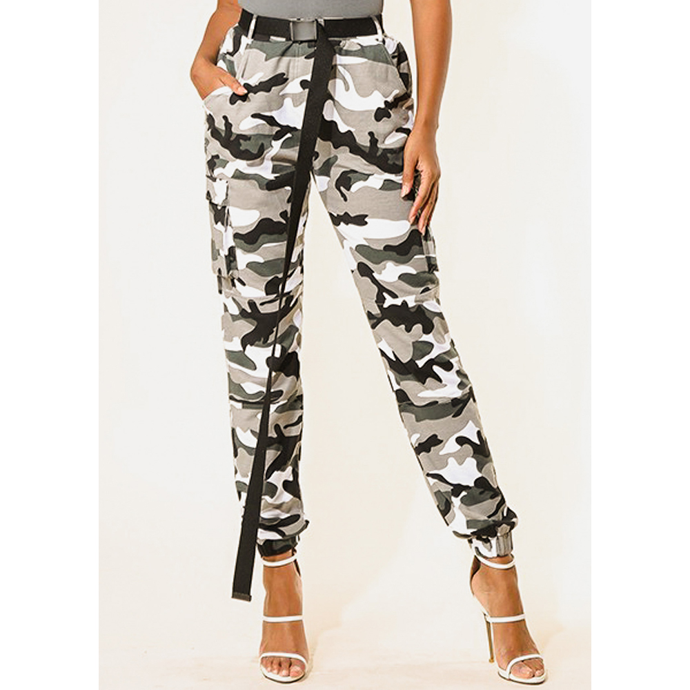 f71fa27fd17d0 ModaXpressOnline - Womens Juniors Casual Trendy Stretchy Cargo Style High  Waisted Camouflage Army Print Gray with Black Belt Included Jogger Pants  10305T ...