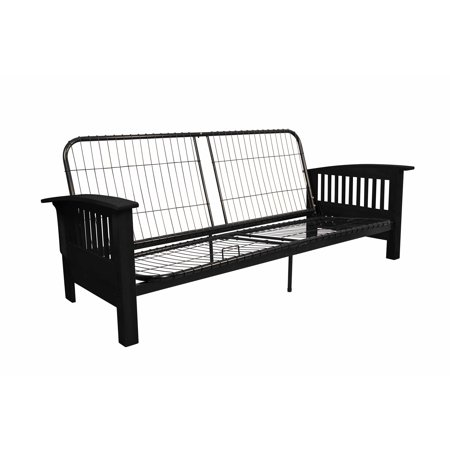 Morris Mission-Style Futon Sofa Sleeper Bed Frame, Full-size, Black Arms