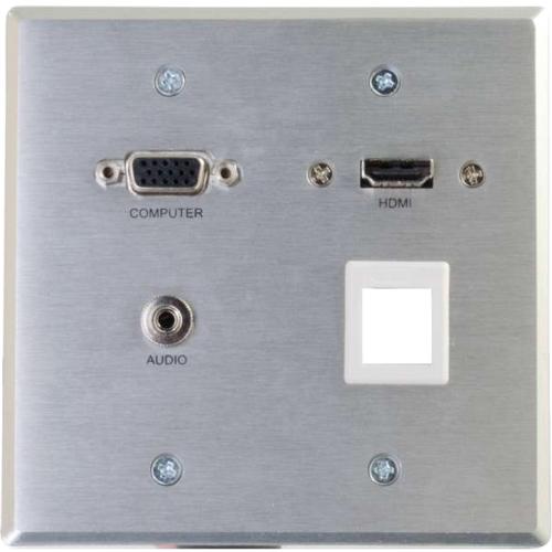C2G 60117 C2G RapidRun Faceplate - 2-gang - Aluminum - 1 x HDMI Port(s) - 1 x Mini-phone Port(s) - 1 x VGA Port(s)