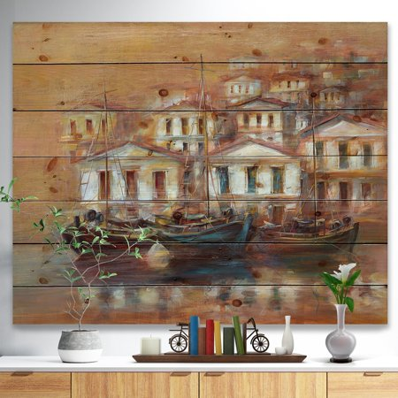 DESIGN ART Designart 'Three Old Fishing Boats in harbor' Sea & Shore Painting Print on Natural Pine Wood - Brown ()