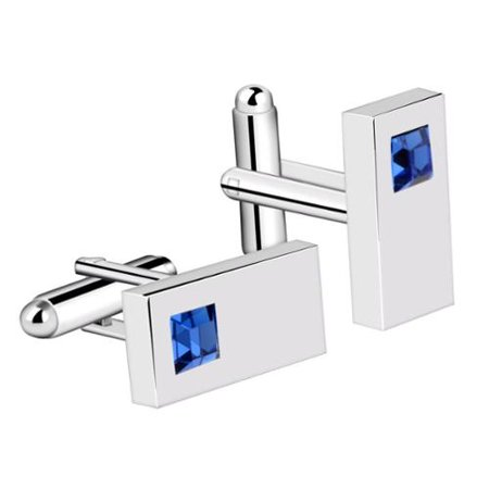 Vintage Mens Silver Rectangle with Blue Diamond Wedding Party Birthday Gift Novelty Shirt Cuff links - Diamond Lined Cufflinks
