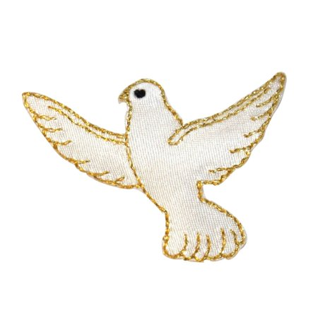 ID 0626 Flying White Dove Patch Peace Love Bird Embroidered Iron On Applique