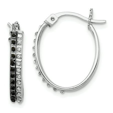 925 Sterling Silver Diamond Mystique Black/white Oval Hinged Hoop Earrings Ear Hoops Set For Women